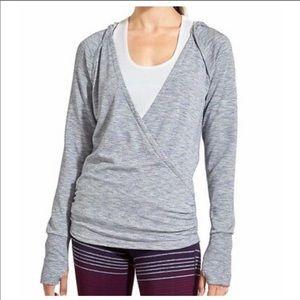 Athleta Gray Studio Wrap Hooded Sweatshirt M